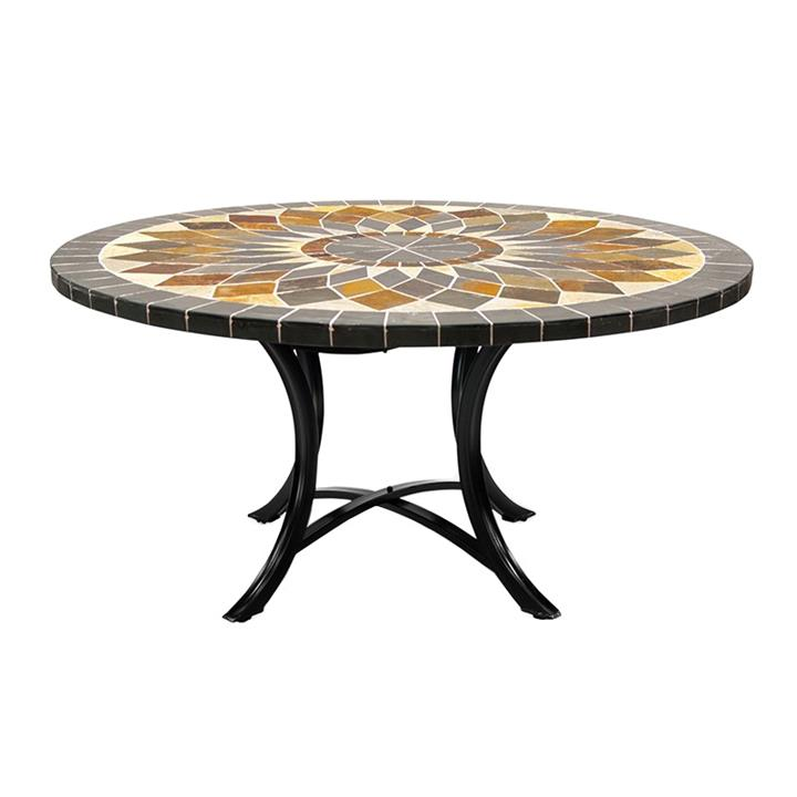 Aurora Slate Stone Round Outdoor Dining Table, Minerva Base, 150cm