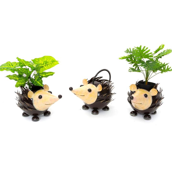Avni 3 Piece Metal Hedgehog Planter Set