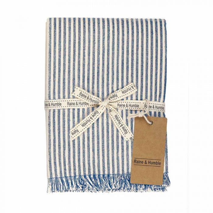 Abby Stripe Fabric Tablecloth, 170cm, Blue