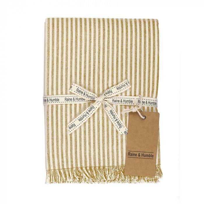 Abby Stripe Fabric Tablecloth, 170cm, Mustard