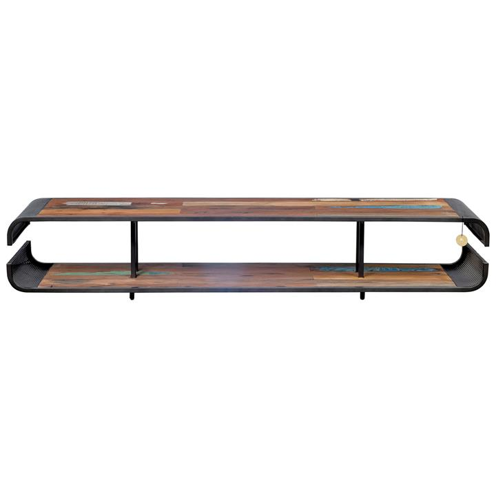 Aru Commercial Grade Industrial Recycled Timber  Iron Open Shelf TV Unit, 200cm