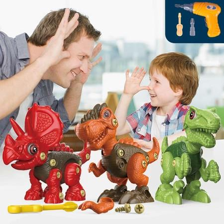 Image of 3 Dinosaurs Creativity Construction STEM Toys with Electric Screwdrill Take Apart Building Dinosaur Toys