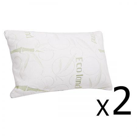 Image of Set of 2 Bamboo Fabric Cover Shredded Memory Foam Pillow 70 x 40 cm