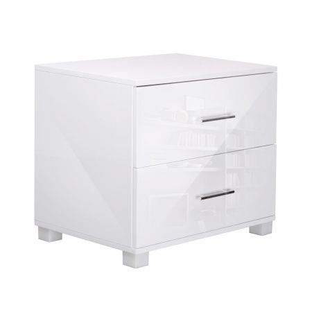 Image of High Gloss Two Drawers Bedside Table Cabinet Lamp Unit - White