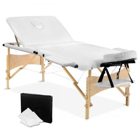 Portable Wooden 3 Fold Massage Table Chair Bed 70cm - White