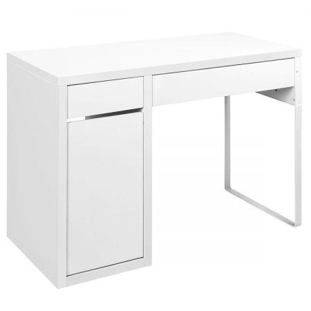 Image of Office Study Computer Desk Cabinet - White