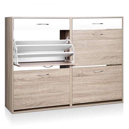Image of Two-tone Colour Finish Shoe Cabinet - 36 Pairs