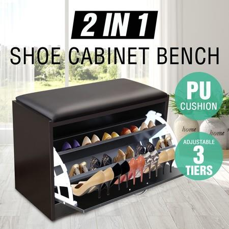 Image of 15 Pair Shoe Cabinet Wooden Storage Bench Footwear Stand w/ PU Cushion Seat