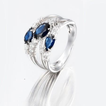 Image of Royal Blue Cubic Stone Silver Ring
