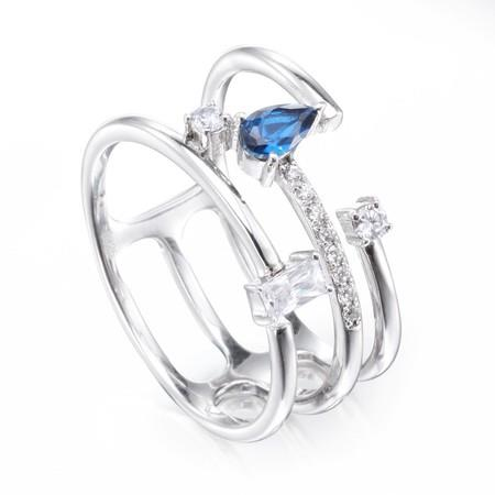 Image of Asymmetry Three-row Ring with Sapphire Emerald Cut Stone Sterling Silver