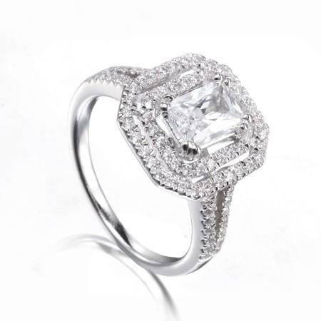 Image of Double Halo Emerald Cut Stone Ring with Split Shanks in Sterling Silver