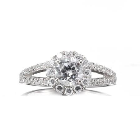 Image of Luxe Ring Jewelry Center Cut Stone in Halo with Split Studded Shanks