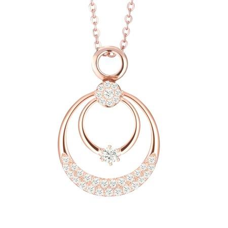 Image of Dual Halo Circle Necklace Pendant Rose Gold Plated Sterling Silver
