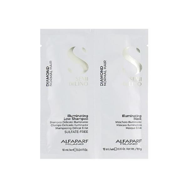 Image of Alfaparf Semi Di Lino Diamond Illuminating Shampoo & Mask Sachet Duo