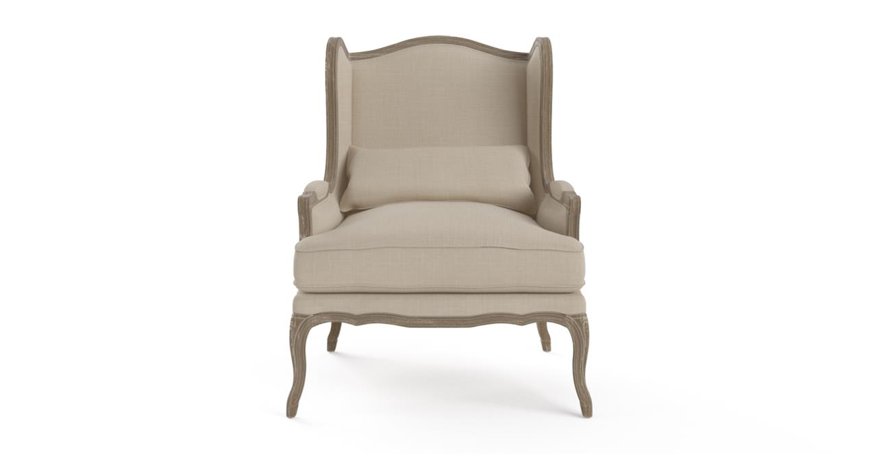 Image of Brosa Marion Wingback Armchair Wire Brushed Solid Oak French Beige French Beige