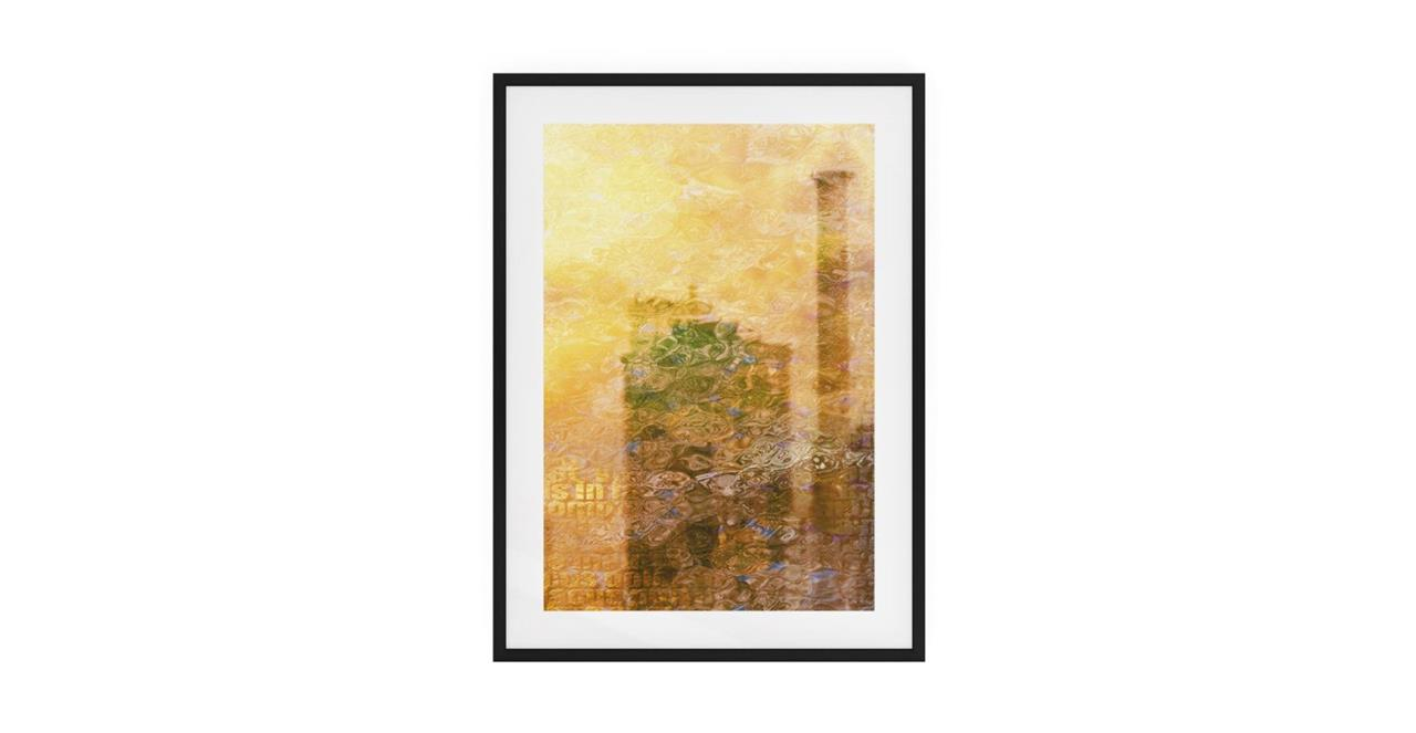 The City Sun Print Black Wood Frame Small Afternoon
