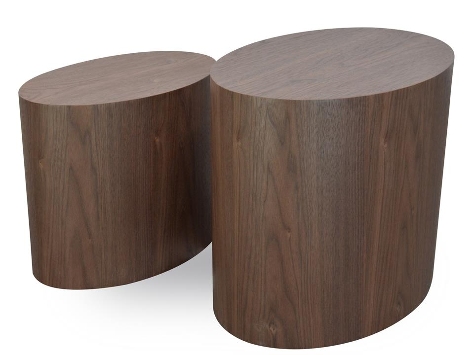Albin Scandinavian Wooden Side Tables - Walnut