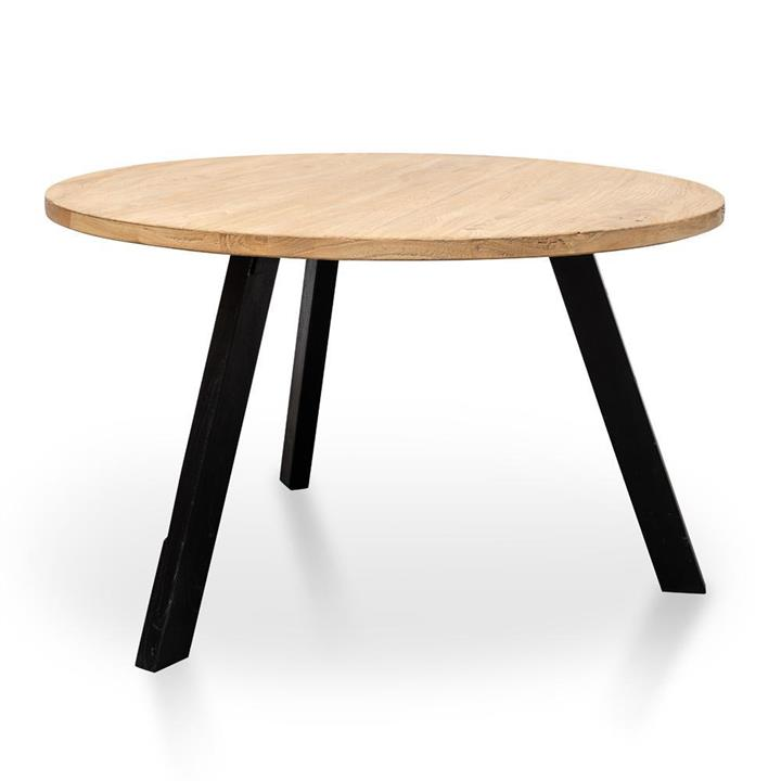 Nena Reclaimed 1.25m Round Dining Table - Black Legs by Interior Secrets - AfterPay Available