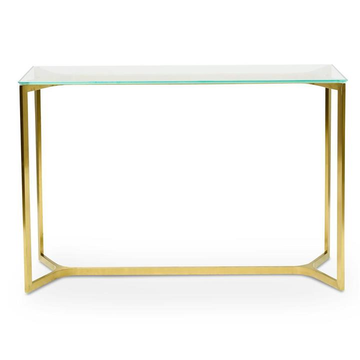 Cannon 1.2m Glass Console Table - Gold Base by Interior Secrets - AfterPay Available