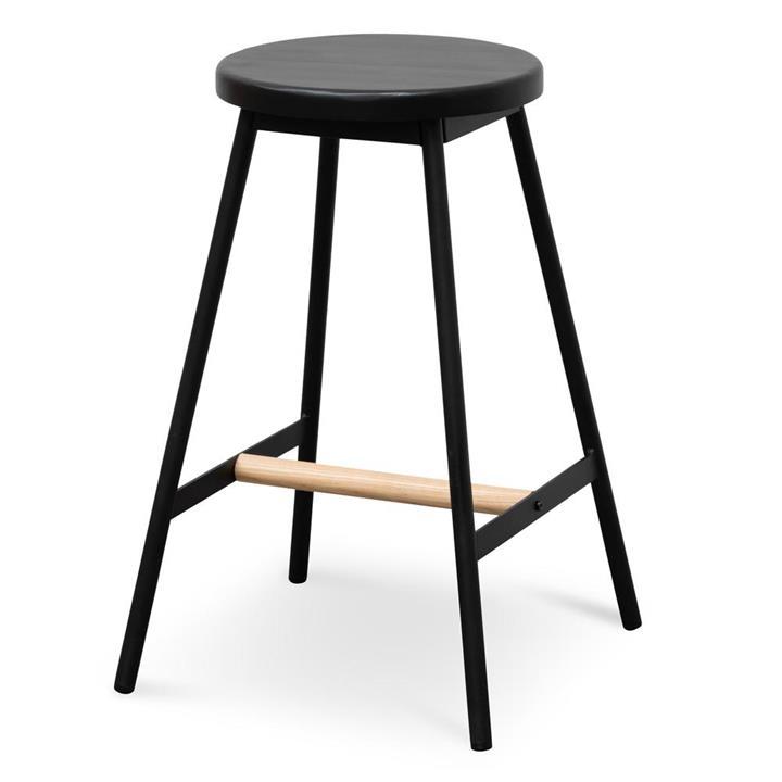 Leo Black Timber Seat Bar Stool - Black Frame by Interior Secrets - Pay with zipMoney