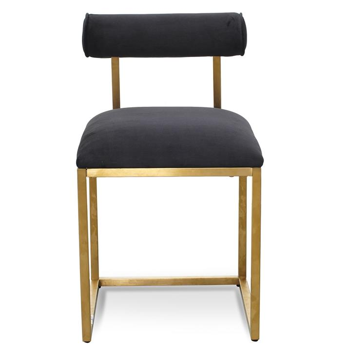Prato Black Velvet Dining Chair - Brushed Gold Base by Interior Secrets - AfterPay Available