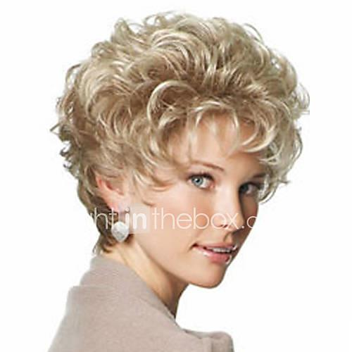beautiful blonde fashion style short curly hair wig