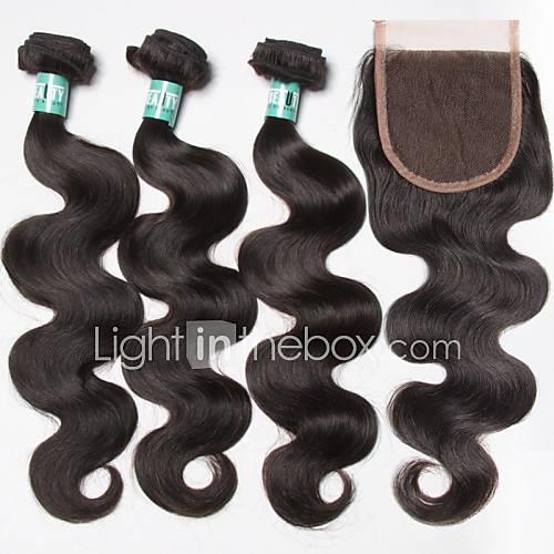 Natural Black Body Wave Brazilian Human Hair Weaves Hair Extensions 0.35kg
