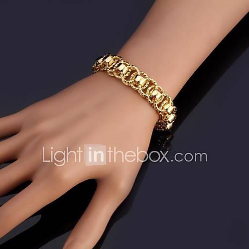 U7 New Bracelet Bangle 18K Real Chunky Gold Platinum Plated Bangle 12MM 21CM Jewelry Christmas Gifts