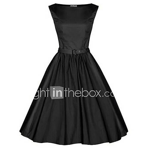 Women's Plus Size Vintage Cotton Swing Dress - Solid Colored Black Boat Neck