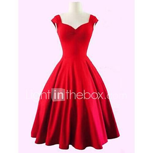 Women's Plus Size Vintage Cotton A Line Dress - Solid Colored Black High Rise Sweetheart