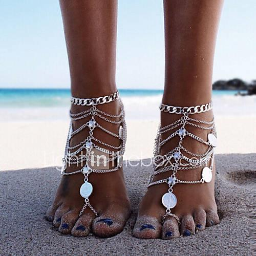 Layered / Tassel Anklet Barefoot Sandals - Tassel, Vintage, Party Gold / Silver For Party / Beach / Women's