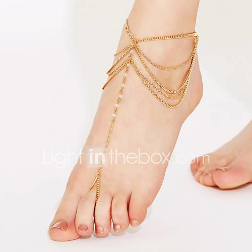 Crystal Layered / Tassel Anklet Barefoot Sandals - Crystal Tassel, Vintage, Party White / Golden For Party / Beach / Women's