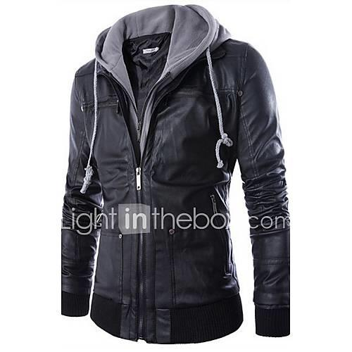 Men's Punk  Gothic Faux Leather Slim Jacket-Solid Colored Hooded