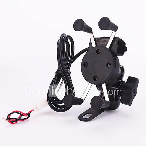 New 12v X-Grip Motorcycle Scooter Cell Phone Cradle Holder, 5V 2.1A USB port Car Charger for iPhone Samsung Smart Phones