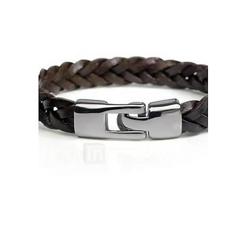 Men's Black Cow Leather Weave Bracelet