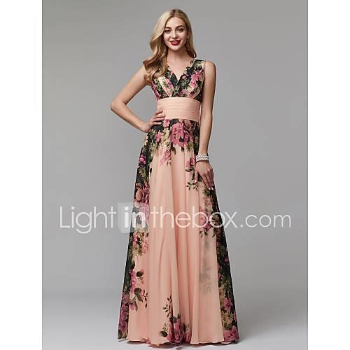 A-Line Queen Anne Floor Length Chiffon Cocktail Party / Prom / Holiday Dress with Draping / Side Draping by TS Couture