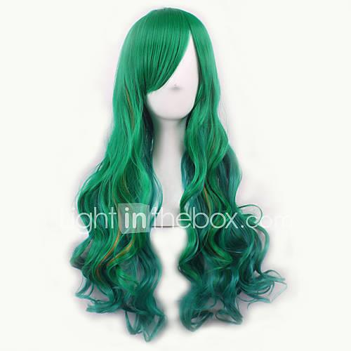 Synthetic Wig / Costume Wigs Wavy Synthetic Hair Green Wig Women's Medium Length Halloween Wig / Carnival Wig Capless