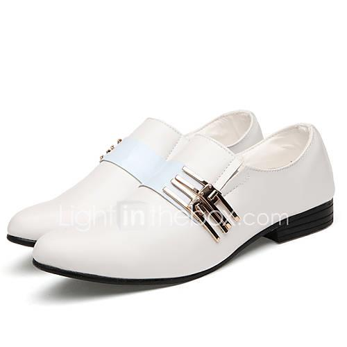 Men's Dress Shoes Faux Leather Spring / Fall Comfort Oxfords Slip Resistant White / Black / Brown / Wedding