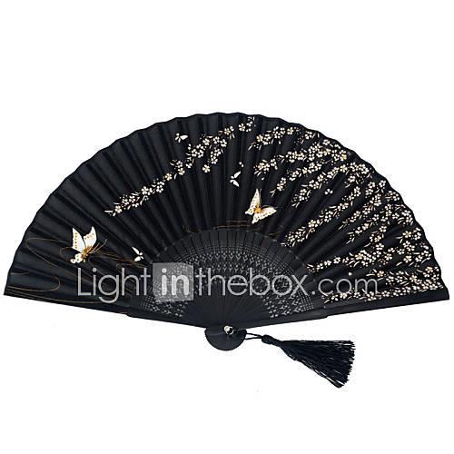 Pondoflotus Japanese Bamboo Silk Folding Fans - 1 Piece/Set Hand Fans Butterfly Theme Black