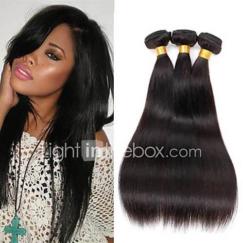natural black Straight Peruvian Human Hair Weaves Hair Extensions 0.3kg