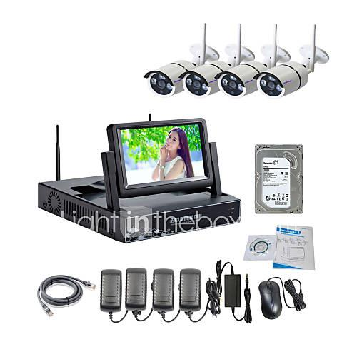 Strongshine Wireless IP Camera with 960P/Infrared/Waterproof and NVR with 7Inch LCD /2TB Surveillance HDD Kits