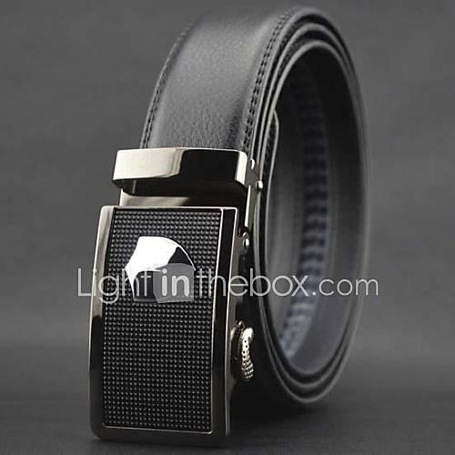 Men's Luxury Solid Wedding Leather Waist Belt - Solid Colored Stylish