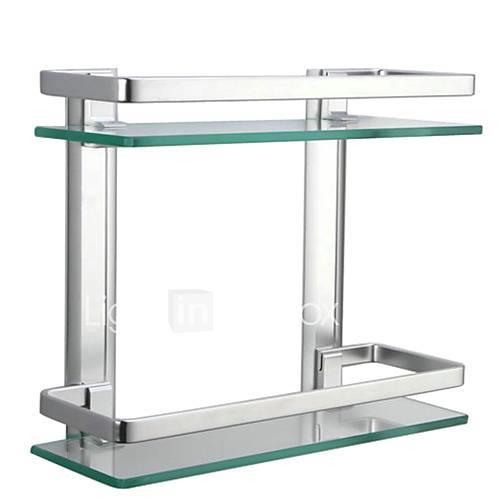 Bathroom Shelf Contemporary Aluminum Tempered Glass 1 pc - Hotel bath