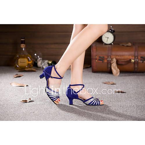 Women's Modern Shoes Paillette / Synthetic / Velvet High Heel Sequin / Buckle / Lace-up Cuban Heel Non Customizable Dance Shoes Silver /