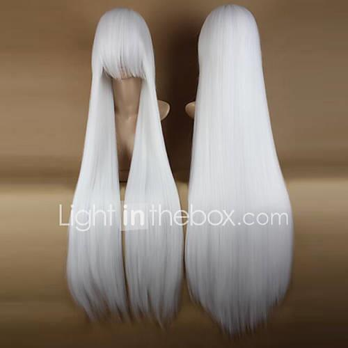 Synthetic Wig / Costume Wigs Straight With Bangs Synthetic Hair Side Part White Wig Women's Long Halloween Wig / Carnival Wig Capless