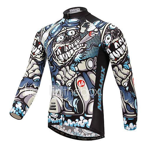 XINTOWN Men's Long Sleeves Cycling Jersey - White Bike Jersey, Quick Dry, Ultraviolet Resistant, Breathable, Spring Summer