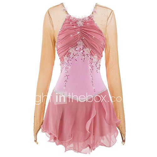 Figure Skating Dress Women's Girls' Ice Skating Dress Pink Rhinestone Appliques High Elasticity Performance Skating Wear Handmade Classic