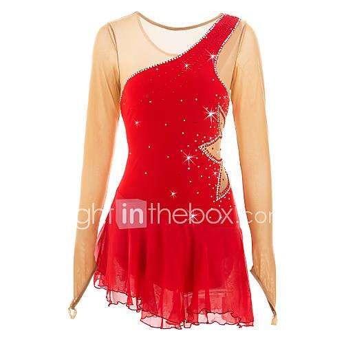 Figure Skating Dress Women's Girls' Ice Skating Dress Red High Elasticity Outdoor clothing Performance Skating Wear Classic Long Sleeves