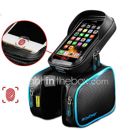 CoolChange Cell Phone Bag / Bike Frame Bag / Top Tube Bag 6.2 inch Touch Screen, Waterproof, Reflective Cycling for Samsung Galaxy S6 / iPhone 5C / iPhone 4/4S Black / iPhone 8/7/6S/6