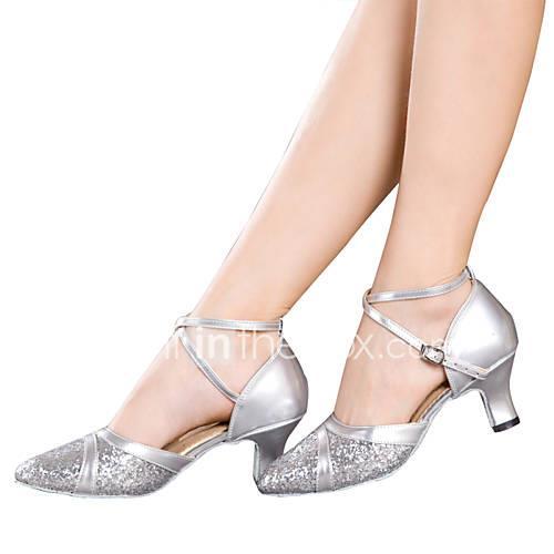 Women's Latin Shoes Sparkling Glitter / Paillette / Synthetic Sandal / Heel / Sneaker Sequin / Sparkling Glitter / Buckle Cuban Heel Non